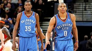 The Kevin Durant and Russell Westbrook combo is sitting at a +343 so far this season. No one is close.